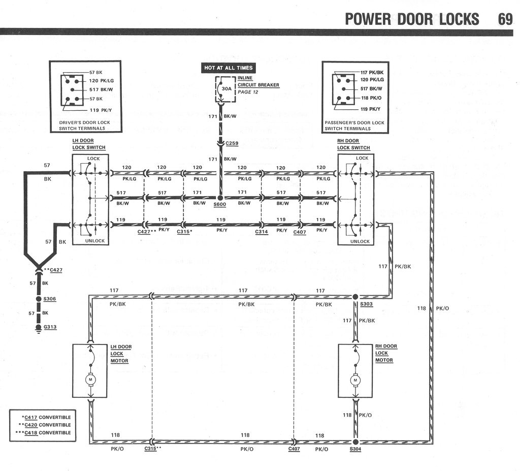 Door Locks 2000 Power Door Lock System Wiring Diagram A